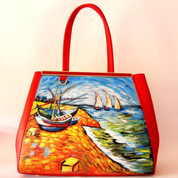 BOATS AT SAINT MARIES Van Gogh borsa a spalla rossa in pelle martellata dipinta a mano