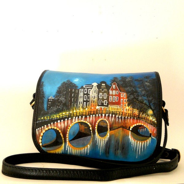 BORSA TRACOLLA dipinta a mano Amsterdam in love