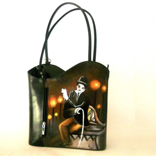 BORSA-ZAINO CHARLIE colore nero dipinta a mano Hanul
