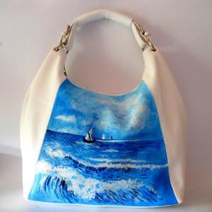Borsa bianca in pelle dipinta a mano Paesaggio marino Van gogh