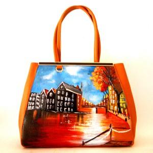 Borsa dipinta a mano Linea Cartoline Tramondo in Olanda cognac