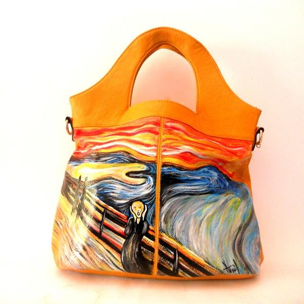 Borsa dipinta a mano - Munch - L'urlo