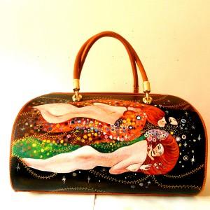 Borsa dipinta a mano Serpenti d acqua di Klimt