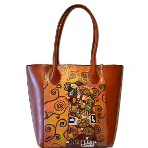 Borsa dipinta a mano in PELLE - L'Abbraccio – Klimt