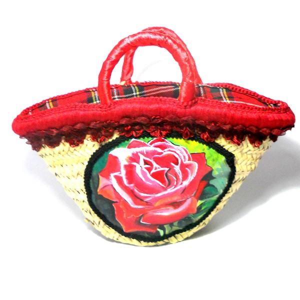 Borsa in paglia decorata a mano rosa