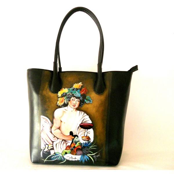 Borsa in pelle dipinta a mano Bacco di Caravaggio