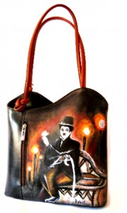 Borsa in pelle dipinta a mano - Charly in the world