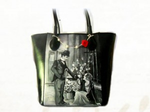 Borsa in pelle dipinta a mano - City Lights