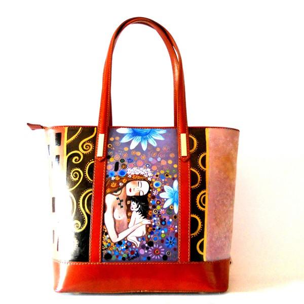Borsa in pelle dipinta a mano Madre e figlia Klimt 2