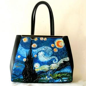 Borsa in pelle dipinta a mano NOTTE STELLATA - Van Gogh