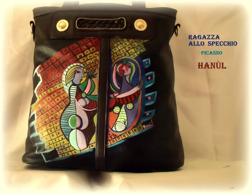 Grandi maestri han l style borse dipinte a mano e - Ragazza davanti allo specchio ...