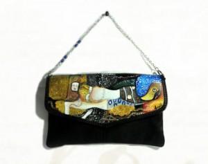 Borsa in pelle dipinta a mano - Serpenti d'acqua - Klimt