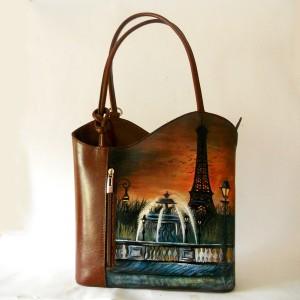 Borsa in pelle dipinta a mano Torre Eiffel Paris