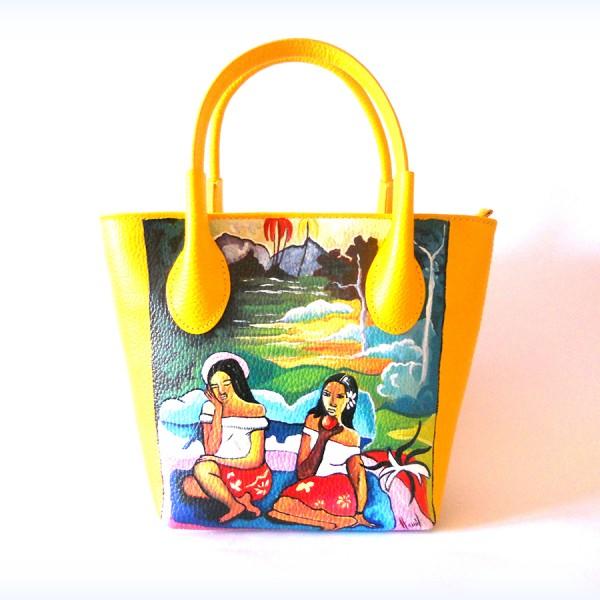Borsa in pelle dipinta a mano donne tahitiane Paul Gauguin
