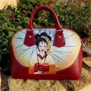 Borsa in pelle dipinta a mano geisha