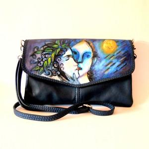 Borsa pochette dipinta a mano in pelle nera Chagalle L'Apertura