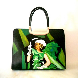 Borsa secchiello dipinta a mano RAGAZZA IN VERDE de Lempicka