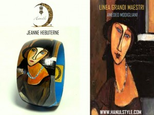 "Br53 Bracciale in legno dipinto a mano "" JEANNE HèBUTERNE"" Modigliani"