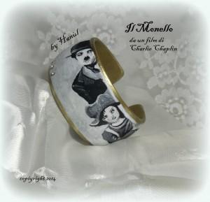 br08 Bracciale dipinto a mano - Charly Chaplin il monello 2