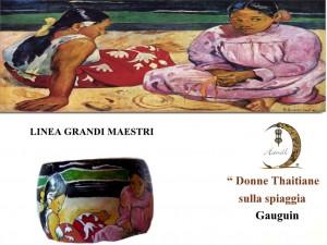 Bracciale dipinto a mano - Donne thaitiane sulla spiaggia - Gauguin