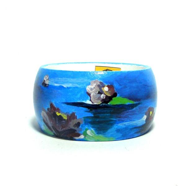 Bracciale dipinto a mano LE NINFEE lilla Monet