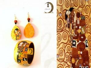 Bracciale dipinto a mano - L'abbraccio - Klimt 2