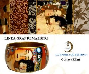 Bracciale dipinto a mano - Madre e figlio - Klimt