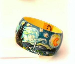 br18 Bracciale dipinto a mano - Notte stellata - Van Gogh 2