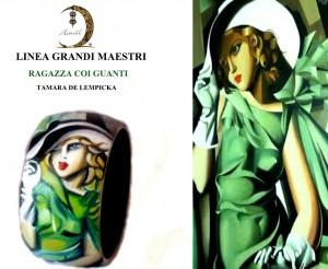 Bracciale dipinto a mano - ragazza con i guanti - Tamara de lempcka