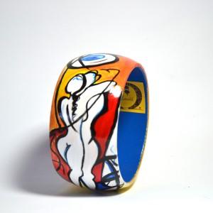 Bracciale in legno dipinto a mano - Amore senza fine - Alfred Gockel