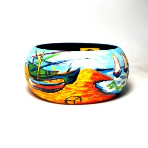 Bracciale in legno dipinto a mano BOATS AT SAINT MARIE'S VAN GOGH