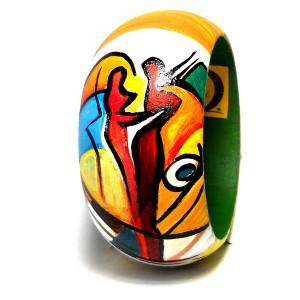 Bracciale in legno dipinto a mano CUORE ALFRED GOCKEL