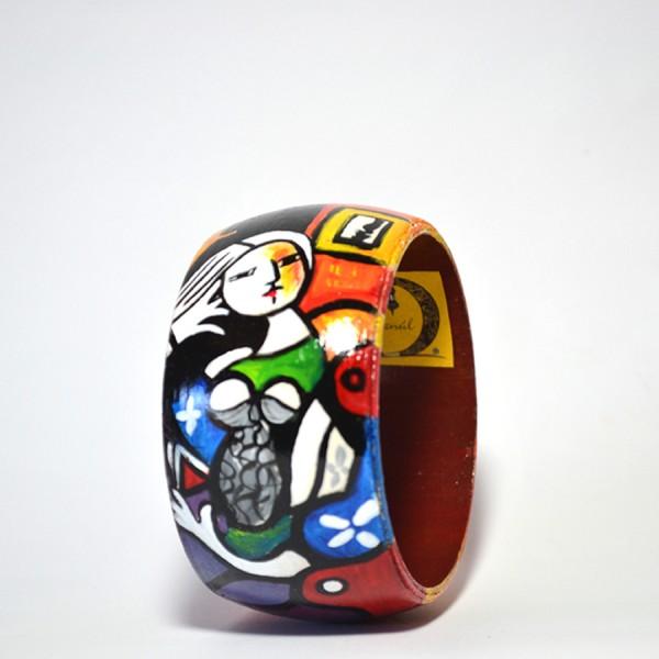 Bracciale in legno dipinto a mano - Donna che legge - Picasso