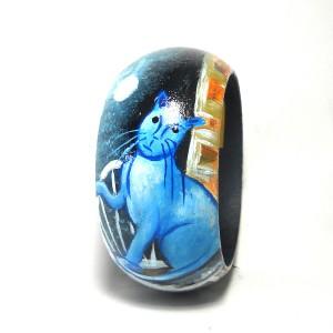 Bracciale in legno dipinto a mano Gatto Blu di Modigliani
