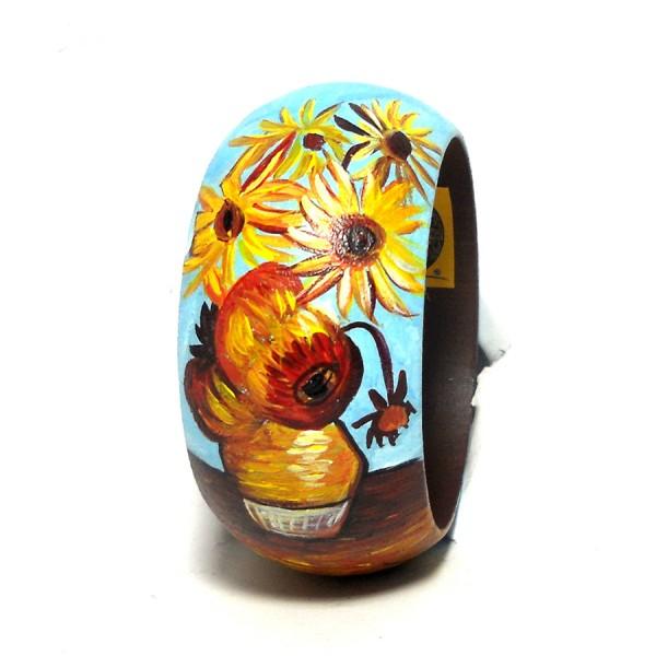 Bracciale in legno dipinto a mano Girasoli Van gogh