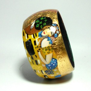 Bracciale in legno dipinto a mano Klimt Il bacio