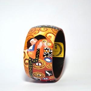 Bracciale in legno dipinto a mano - L'Abbraccio - Klimt