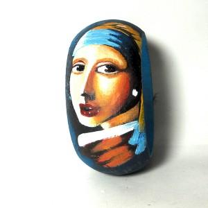 Bracciale in legno dipinto a mano La ragazza con l'orecchino di perla