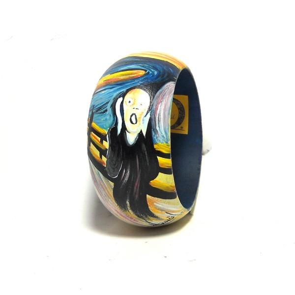 Bracciale in legno dipinto a mano L'urlo di Munch