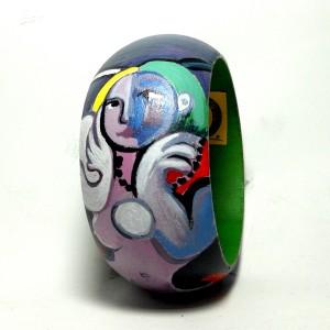 Bracciale in legno dipinto a mano Nudo di donna picasso