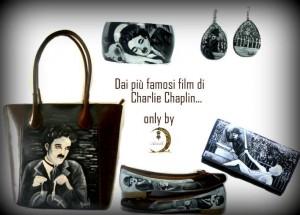 Coordinato borsa orecchini bracciale portafoglio e ballerine dipinti a mano Charly Chaplin