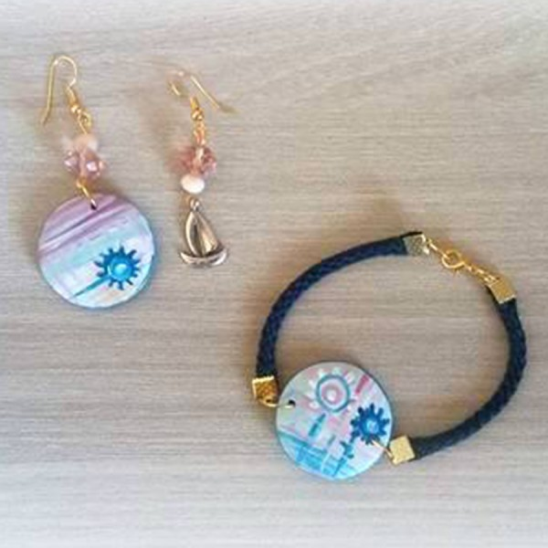 Coordinato braccialetto e monorecchino dipinti a mano AURORA SULLA VELA