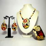 Coordinato dipinto a mano - bracciale orecchini pendente collana dipinti a manao missAmelia