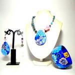 Coordinato (immagine inserita a scopo dimostrativo) dipinto a mano - bracciale orecchini pendente collana dipinti a manao missNadia