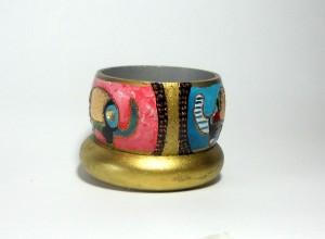 ABU'COD LML BR 08 bracciale duo con elefanti edettagli in oro, foglia oro e glitter oro.REPLICABILE E PERSONALIZZABILE