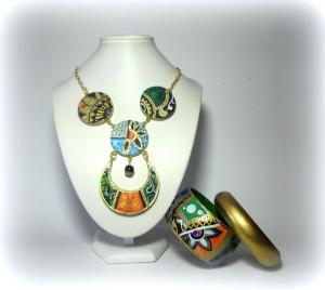 """COORDINATO """" ZAIRA"""", composto da collana modulare, e doppio bangle. DIPINTO NON REPLICABILE, SOLO STRUTTURA"""