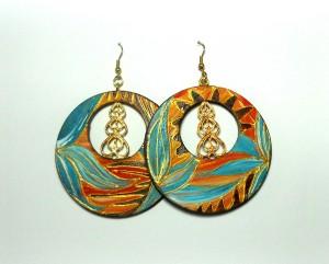ANBAR, COD LML OR 12 orecchini decorati a mano con filigrana oro centrale.REPLICABILE E PERSONALIZZABILE