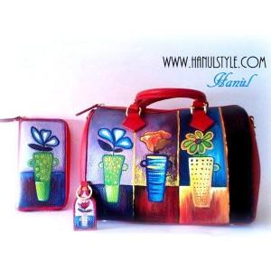 Kit borsa portafoglio e portachiavi in pelle dipinto a mano Coktail di fiori