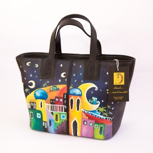 LE MILLE LUNE, cod LML B01 Borsa dipinta a mano in pelle vera made in Italy