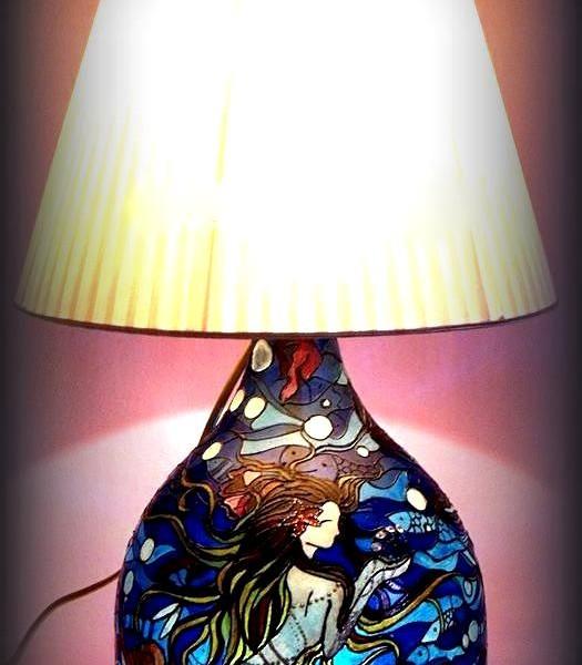 Lampada dipinta a mano Cuore d'oceano